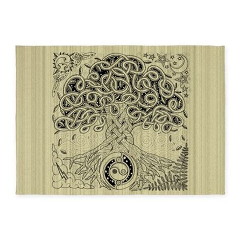 Celtic Tree Of Life Ink 5 X7 Area Rug By Artoffoxvox Celtic Area Rugs