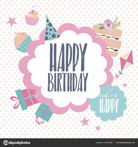 kawaii birthday card template happy birthday card template stock vector 169 vissay