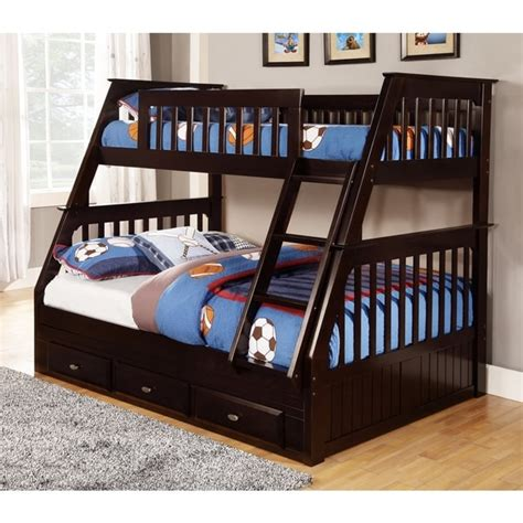 Bunk Bed Free Shipping Solid Pine Espresso Bunk Bed With Three Drawers Free Shipping Today Overstock