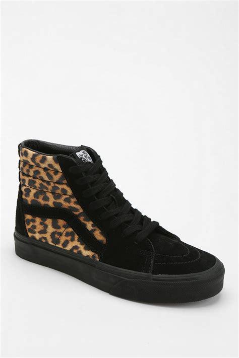 vans patterned high tops lyst urban outfitters vans sk8 hi leopard print women s