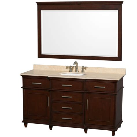 60 Inch Vanity Top Single Sink Wyndham Collection Wcv171760scdivunrm56 Berkeley Single Vanity Chestnut 60 Inch With Ivory