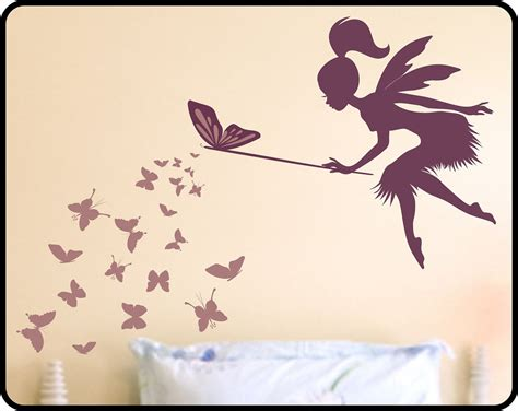 Fairy Wall Stickers Uk butterfly fairy with butterfly wand vinyl wall by wallcrafters