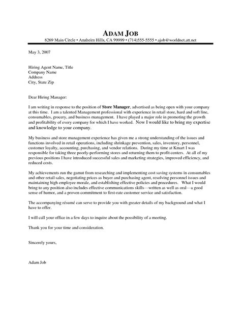 writing a cover letter for a management position letter sle sle best cover letters for