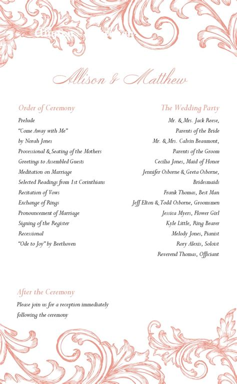 templates for wedding programs wedding program printable templates wedding