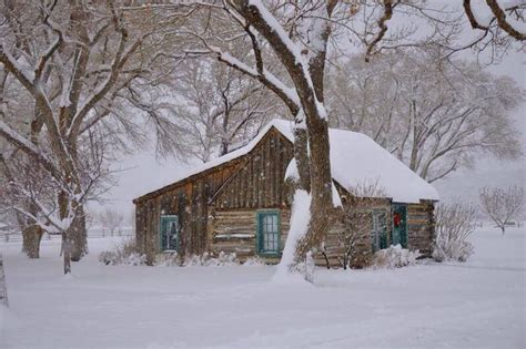 old cabin in the snow cabins pinterest