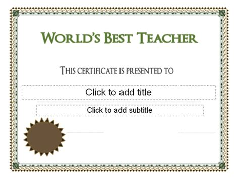 world s best teacher award certificate pre k graduation
