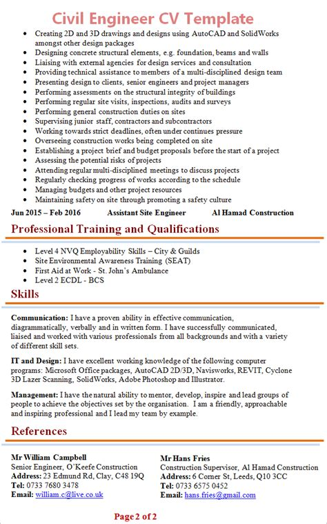 civil engineer cv template civil engineer cv template