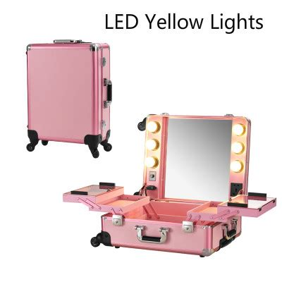 station lighted pink led yellow lighted makeup professional rolling cosmetic box station large portable bag