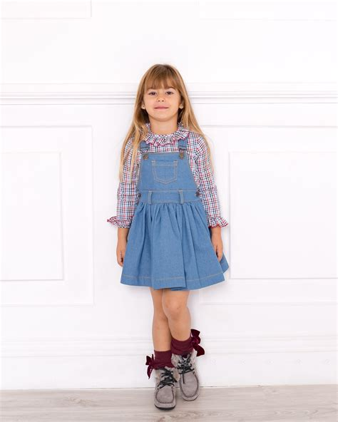 Checked Pinafore Dress checked blouse denim pinafore dress set missbaby
