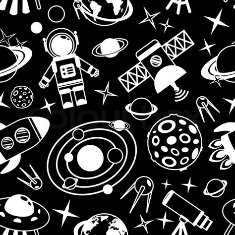 pattern white space space and astronomy black and white seamless pattern with
