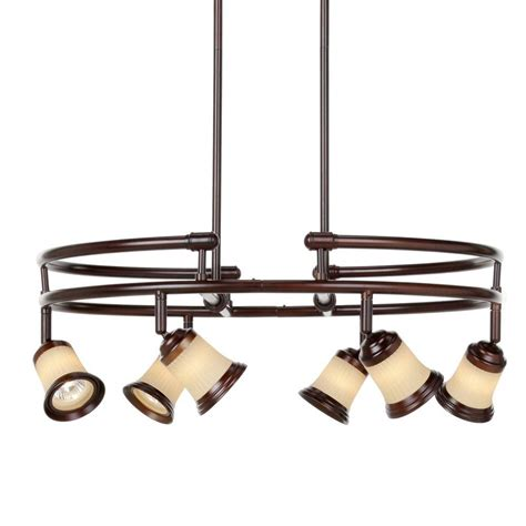 Directional Pendant Light Hton Bay 6 Light Antique Bronze Multi Directional Chandelier With Frosted Glass Shades