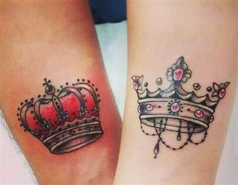 matching crown tattoos for couples matching king and crowns venice