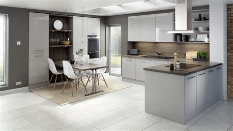 technica gloss light grey kitchen modern kitchens with