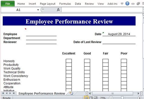 Performance Review Template For Microsoft Excel Microsoft Word Employee Evaluation Template