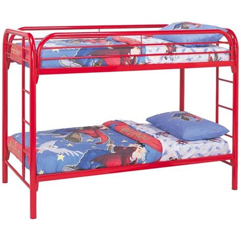 red bunk beds fordham twin metal bunk bed with built in ladders by