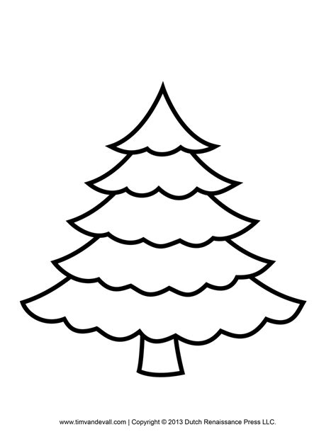 christmas tree clipart coloring page printable paper christmas tree template and clip art