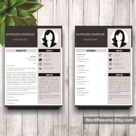 Pages Resume Templates Not In by Clean Resume Template With Photo Cover Letter