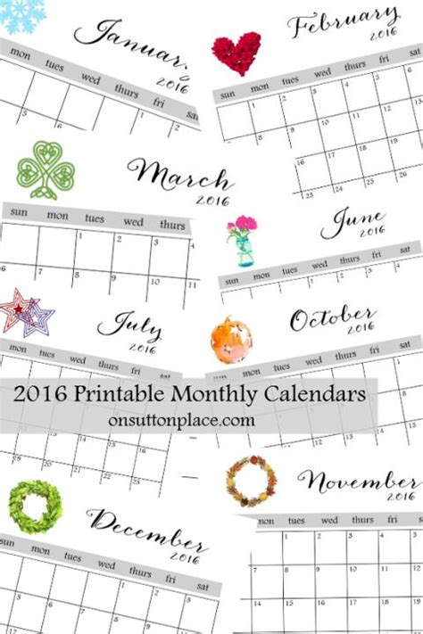 month at a glance calendar template 2016 printable monthly calendar weekly planner planners