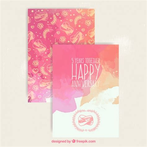 Wedding Anniversary Cards Vector Free by Watercolor Anniversary Card Vector Free