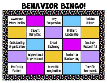 Behaviour Modification Classroom Management by Classroom Management Behavior Modification Bingo Charts