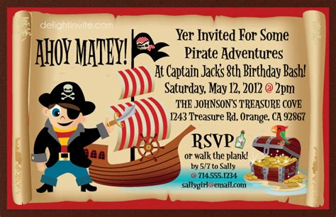 Pirate Birthday Card Template by Birthday Invites How To Create Pirate Birthday