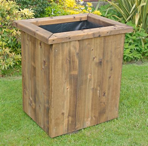 deep rustic large wooden planter 750 tall