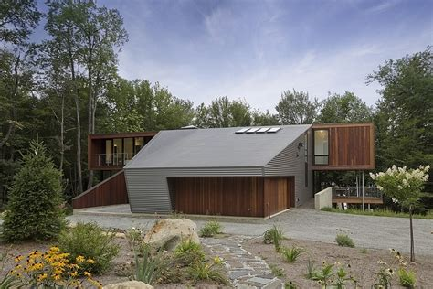 Floor Plan Of Modern Family House by Modern Massachusetts Forest House With Two Story Ceilings