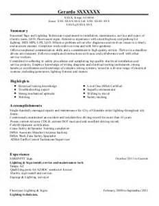 Low Voltage Technician Sle Resume by Low Voltage Technician Resume Exle West Palm Florida