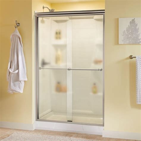 Delta Shower Door Delta Silverton 48 In X 70 In Semi Frameless Sliding Shower Door In Nickel With Droplet Glass