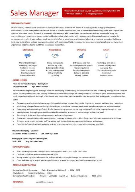 Resume Sles Of Sales Manager Free Cv Templates Resume Exles Free Downloadable Curriculum Vitae Key Skills