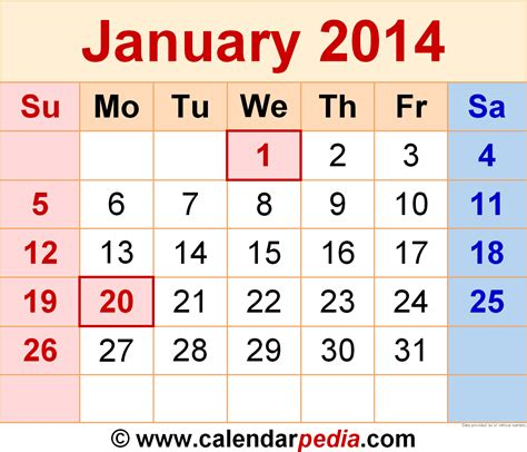Calendar January 2014 January 2014 Calendars For Word Excel Pdf
