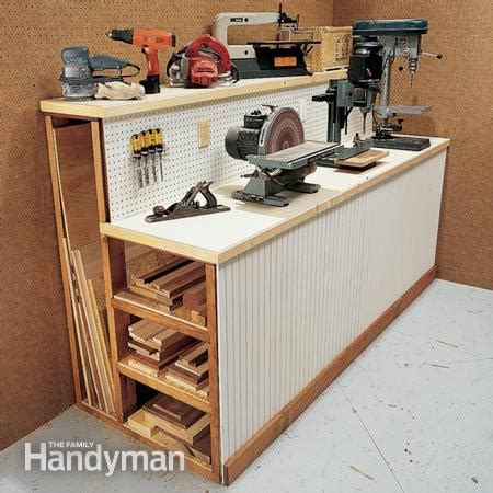 storage work bench workshop organization tips the family handyman