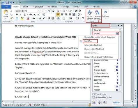 modify template how to change default template in word 2007 2010isunshare
