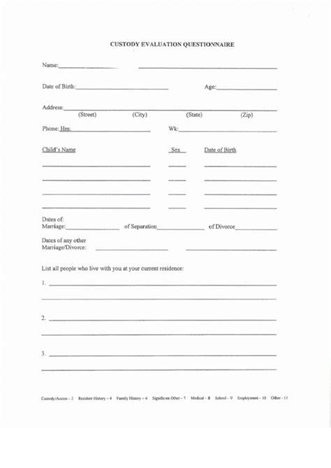 evaluation questionnaire template fillable custody evaluation questionnaire template