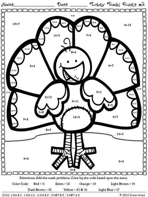 thanksgiving coloring page math turkey tracks feather facts math printables color by