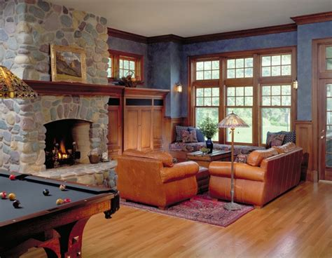 Pictures Of Family Rooms With Fireplaces by View Of Family Room And River Rock Fireplace Traditional