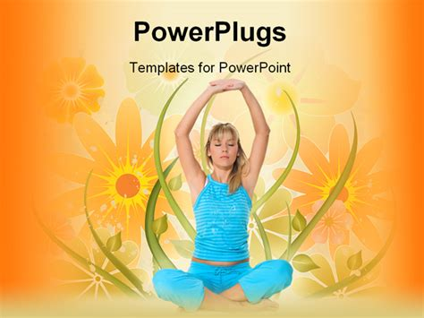 ppt templates for yoga powerpoint template young blond girl in blue sportswear
