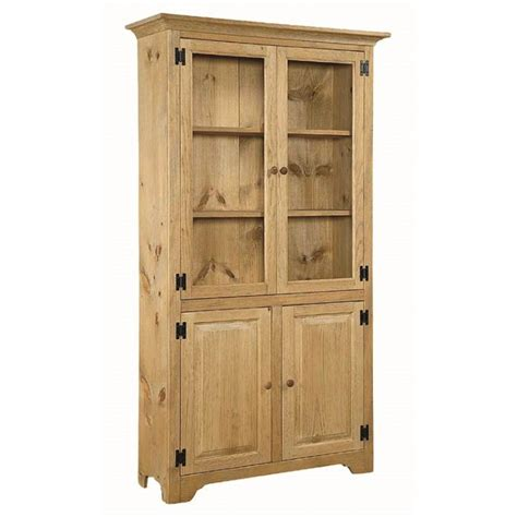 Pine 6 Bookcase With Glass Doors Amish Pine 6 Bookcase Pine Bookcase With Doors