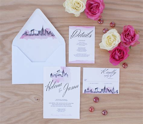 Wedding Invitations New York City by New York City Wedding Invitation Handpainted With