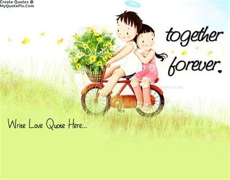 couple pic write quote on cute couple on bicycle picture