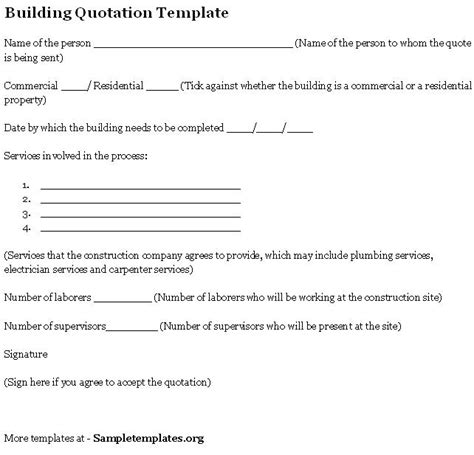 builders quotation template building quotation template