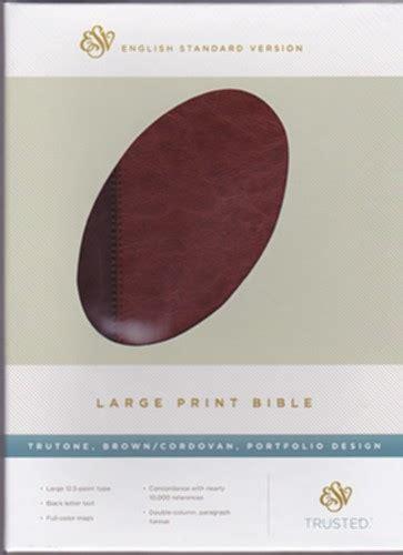 esv print bible trutone black books esv large print bible trutone brown cordovan esv