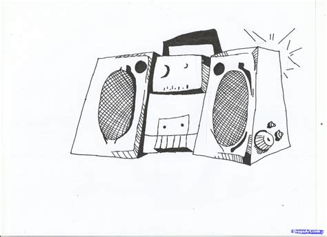 make a drawing how to draw a boom box step by step graffiti pop