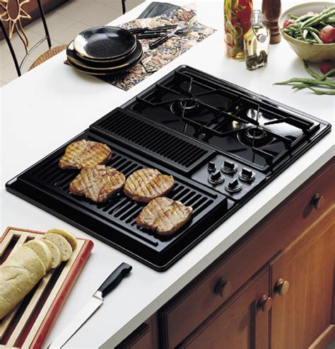 gas cooktops with built in downdraft ge profile 30 quot built in downdraft modular gas cooktop