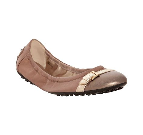 Flat Shoes Tods 4706 lyst tod s warm bronze leather buckle ballerina flats in metallic