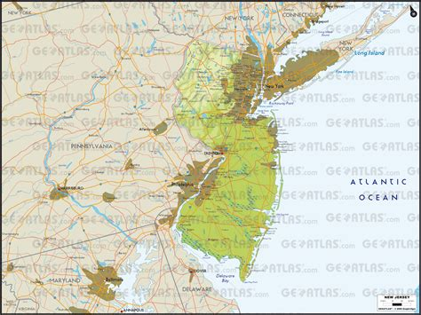 physical map of new jersey geoatlas united states canada new jersey map city