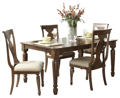 rustic dining sets liberty furniture rustic tradition 5 84x42 dining room set in cherry medi traditional