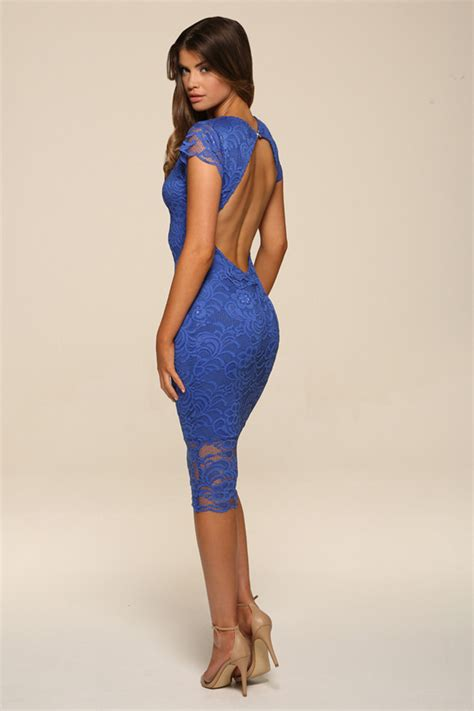backless lace faye blue backless lace midi dress with cap sleeves