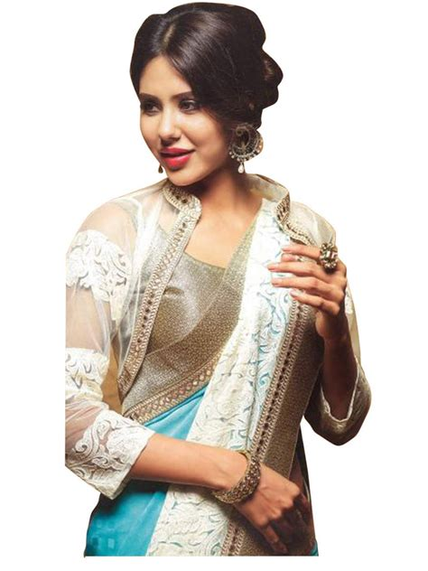 Yk Blz Top Yosi Blouse buy blue embroidered georgette saree with blouse
