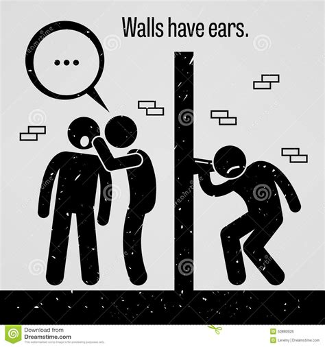 Is 2d Blind Walls Have Ears Stock Vector Image 50880926
